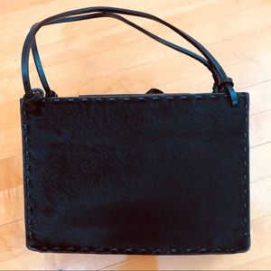 Fossil Black Pony Hair & Leather Shoulder Bag